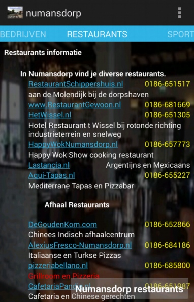numansdorp info app preview restaurants